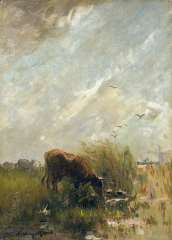 Maris W. - Watering cattle, oil on canvas 35.5 x 25.8 cm, signed l.l.