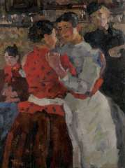 Israels I.L. - Women in a dance hall on the Zeedijk, Amsterdam, oil on canvas 97.5 x 74.5 cm, signed l.l. and painted circa. 1892-1893
