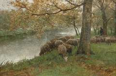 Mauve A. - Sheep watering by a river, oil on canvas 60.5 x 90.2 cm, signed l.r.