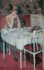 Hem P. van der - Café de Paris, oil on canvas 88 x 57.3 cm, signed l.r.