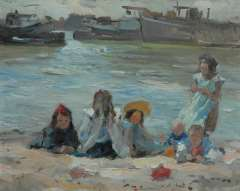 Voorden A. - Playing children alongside the canal, oil on panel 27.2 x 34.2 cm, signed l.l.