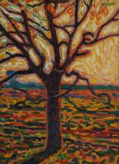 Gestel L. - A tree in autumn, oil on canvas laid down on board 52.4 x 38.5 cm, signed u.r. and painted ca. 1909-1910