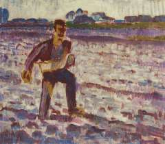 Altink J. - Working the land, wax paint on canvas 55 x 63.6 cm, signed l.l. and dated '25