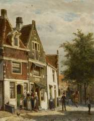 Springer C. - A town view of Hoorn, oil on panel 25 x 19.8 cm, signed l.r and dated 1871