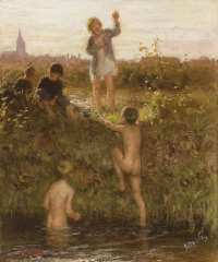 Blommers B.J. - The little bathers, oil on canvas 48.2 x 40.4 cm, signed l.r. and painted ca. 1895-1907