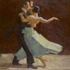 Maks C.J. - A dancing couple, oil on canvas 62.6 x 62.5 cm, signed l.l.