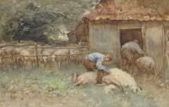 Nat W.H. van der - Shearing sheep, watercolour on paper 34.4 x 52.6 cm, signed l.l.