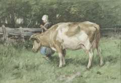 Mauve A. - Double duty, watercolour on paper 23.8 x 34 cm, signed l.r. and painted ca. 1875