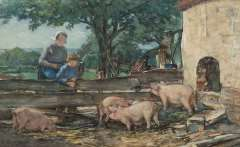 Akkeringa J.E.H. - Dries watching the pigs, watercolour on paper 27.7 x 45 cm, signed l.l.
