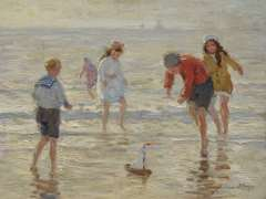 Viegers B.P. - Children playing on the beach, oil on canvas 36.6 x 46.6 cm, signed l.r.