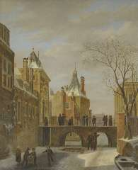Hove B.J. van - Skaters by the 'Grenadierspoort', The Hague, oil on panel 47.4 x 38.1 cm, signed l.r. and dated 1823