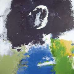 Diederen J. - The Moon III, acrylic on canvas 110 x 110 cm, signed on the reverse and dated '92 on the reverse