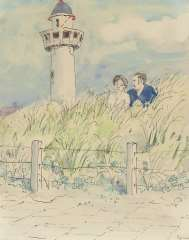 Kamerlingh Onnes H.H. - A young couple in the dunes, Egmond aan Zee,, pen, ink and watercolour on paper 25.7 x 21 cm, signed l.r. and dated ´74