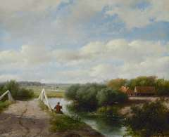 Schelfhout A. - A summer landscape with an angler near Haarlem, oil on canvas 46.6 x 70.2 cm, signed l.l. and dated ´59