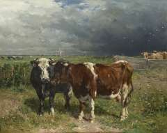 Haas J.H.L. de - Cattle in a pasture, oil on panel 79.8 x 100 cm, signed l.r.
