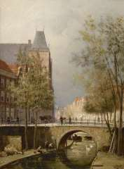 Dommelshuizen C.C. - View of the Oudegracht with Oudaen, Utrecht,, oil on canvas 28.3 x 21.3 cm, signed l.r. with initials and dated '94
