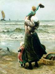Blommers B.J. - Waving father goodbye, oil on canvas 76 x 58.2 cm, signed l.r.