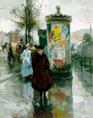 Voorden A.W. van - Figures on the Vierleeuwenbrug, Rotterdam, oil on panel 56.9 x 45.6 cm, signed l.r. and dated 1918