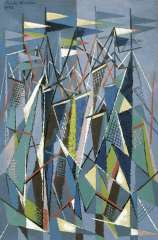 Hunziker F. - Masts and sails, oil on canvas 90.3 x 60.5 cm, signed u.l. and dated 9/47