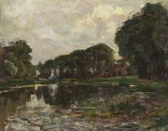 Mondriaan P.C. - Farnstead with long row of trees on the Gein, oil on canvas 35.8 x 45.3 cm, painted in 1905-1907