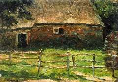 Mondriaan P.C. - A farm behind a fence, oil on canvas laid down on panel 20.5 x 29.1 cm, signed l.l. and to be dated 1897-1900 poss. 1904