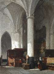 Bosboom J. - Interior of the Dutch protestant church in Hattem, oil on panel 38 x 28.6 cm, signed l.l.