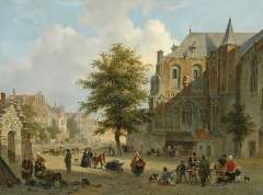 Hove B.J. van - Busy market place in a small Dutch town, oil on panel 42.2 x 56.7 cm, signed l.r. and dated 1852