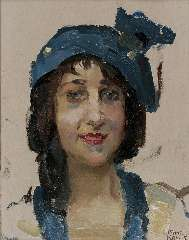 Israels I.J. - Smiling young woman, oil on panel 27 x 21.3 cm, signed l.r.