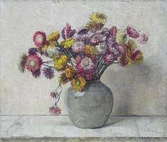 Egter van Wissekerke A.W.E.M. - Strawflowers, oil on canvas 35.3 x 41.7 cm, signed l.r. and dated 1952