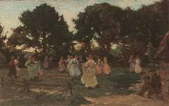 Akkeringa J.E.H. - May-dance (Wolfheze), oil on panel 16.5 x 25 cm, signed l.l. and painted ca. 1906
