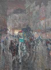 Niekerk M.J. - An omnibus driving through the city night, oil on canvas 115.5 x 85.3 cm, signed l.r. and dated 1919