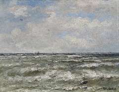 Mesdag H.W. - At sea, oil on canvas 40.2 x 51.3 cm, signed l.r.