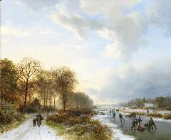 Koekkoek B.C. - Skaters at sunset, oil on panel 34.8 x 42.2 cm, signed l.l. and dated 1835