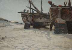 Bartsch W. - Fishing boats on the beach, oil on canvas laid down on cardboard 34.3 x 49.1 cm, signed l.r.
