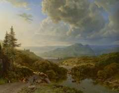 Koekkoek B.C. - Figures and cows in a mountainous landscape, oil on canvas 101 x 128.8 cm, signed l.l. 'B.C. Koekkoek' and 'PG v O' in monogram and painted ca. 1832