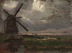 Mondriaan P.C. - The 'Broekzijdse Molen' along the Gein, oil on canvas laid down on panel 34.6 x 46.3 cm, signed l.r. and painted ca. 1905