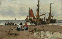 Bartsch W. - Fisherboats and fishermen on the beach, Katwijk, oil on canvas 34.3 x 49.1 cm, signed l.r.