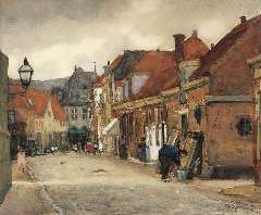Arntzenius P.F.N.J. - A street in Hoorn with the Kaaswaag in the distance, watercolour on paper 39 x 46.5 cm, signed l.r. and painted in August 1905