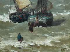 Mesdag H.W. - Two bomschuiten in the surf, oil on canvas 29.2 x 38.5 cm, signed l.r. with initials