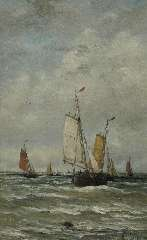 Mesdag H.W. - Fishing boats at sea, oil on canvas 78.2 x 48.2 cm, signed l.r. and dated 1899