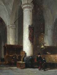 Bosboom J. - Interior of The Hervormde Kerk of Hattem, oil on panel 17.6 x 13.4 cm, signed l.c.