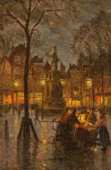 Richters M.J. - The Nieuwe Markt in Rotterdam, by night, oil on panel 32.5 x 21.4 cm, signed l.l. and and painted between 1910-1915