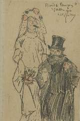 Sluiter J.W. - Bride and groom, pencil on paper 19.5 x 12.5 cm, signed u.r. and dated 27 October 1910
