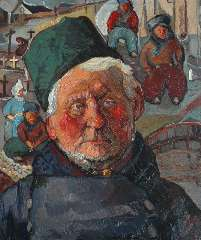 Kruijsen J. - Portrait of a fisherman, oil on board 59.7 x 50.3 cm, signed l.r. and dated '35