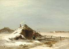Apol L.F.H. - A winter landscape, oil on canvas 47.2 x 64.2 cm, signed l.l. and painted between 1871-1873