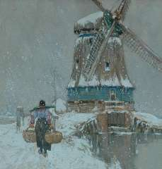 Cassiers H. - Windmill in Volendam, watercolour on paper 23.5 x 22,5 cm, signed l.l. and executed ca. 1917