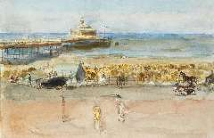 Israels I.L. - A sunny day on the Scheveningen boulevard, watercolour and gouache on paper laid down on board 33.7 x 50.6 cm, painted 1915-1919