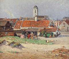 Riess P. - View of Katwijk aan Zee with the Oude Kerk, oil on canvas 60.9 x 70.6 cm, signed l.r.