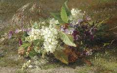 Sande Bakhuyzen G.J. van de - A still life of flowering springs and violets, oil on panel 22.9 x 36.3 cm, signed l.r.