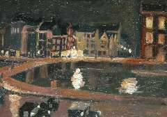 Maks C.J. - The Rokin, Amsterdam, by night, oil on board 23 x 32.2 cm, signed l.r.